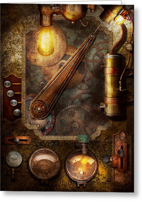 Gauge Greeting Cards - Steampunk - Victorian fuse box Greeting Card by Mike Savad
