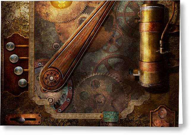 Steampunk - Victorian fuse box Greeting Card by Mike Savad