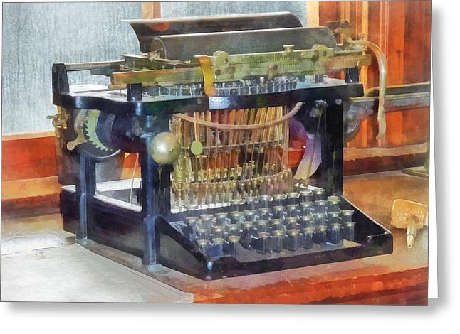 Steampunk - Vintage Typewriter Greeting Card by Susan Savad
