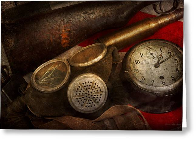 Macabre Guns Greeting Cards - Steampunk - War - Remembering the war Greeting Card by Mike Savad