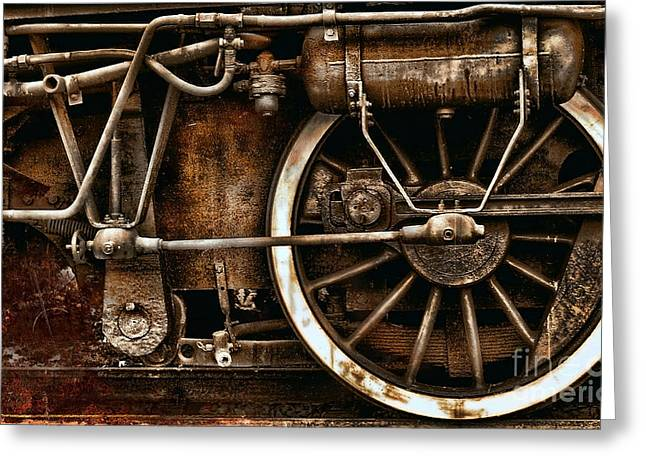 Mechanism Photographs Greeting Cards - Steampunk- Wheels of vintage steam train Greeting Card by Daliana Pacuraru