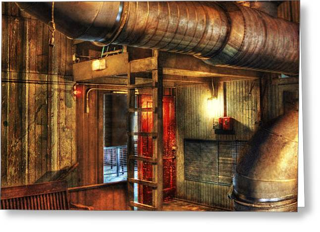 SteamPunk - Where the pipes go Greeting Card by Mike Savad
