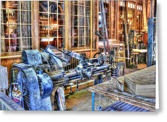 Engraving Greeting Cards - Steampunk Woodshop HDR Greeting Card by John Straton