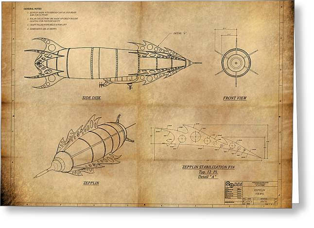 Copyrighted Greeting Cards - Steampunk Zepplin Greeting Card by James Christopher Hill
