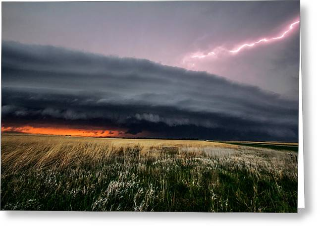 Prairie Sunset Landscape Art Print Greeting Cards - Steamroller Greeting Card by Sean Ramsey