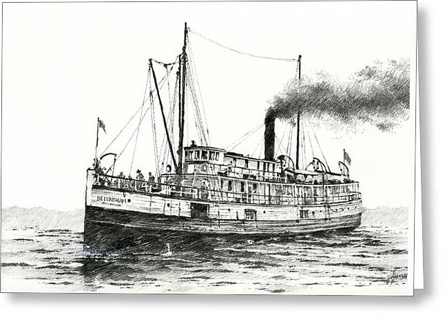 Puget Sound Framed Prints Greeting Cards - Steamship Bellingham Greeting Card by James Williamson