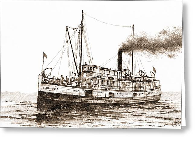 Historical Acrylic Prints Greeting Cards - Steamship Bellingham Sepia Greeting Card by James Williamson