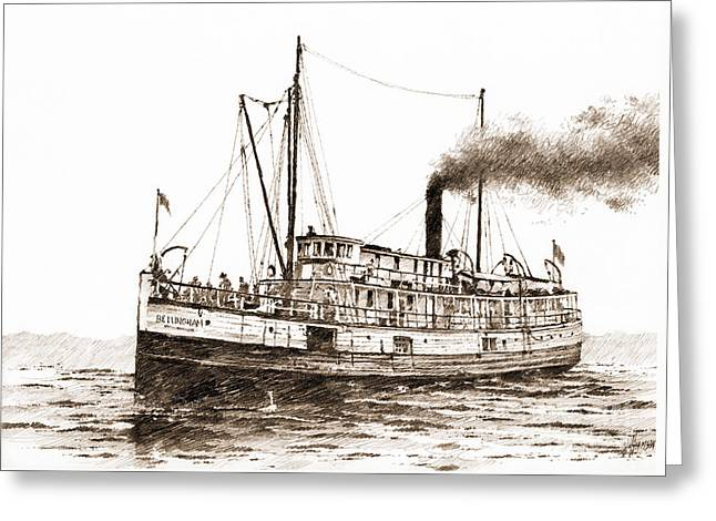 Steamship Bellingham Sepia Greeting Card by James Williamson