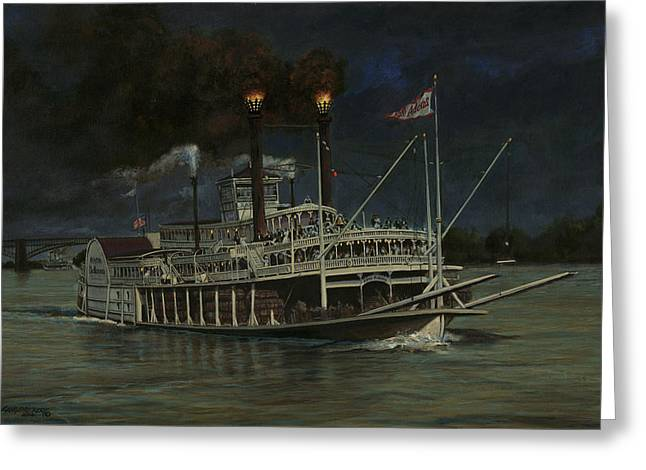 Steam Ship Greeting Cards - Kate Adams Steamboat Night Greeting Card by Don  Langeneckert