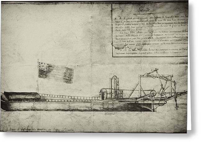 Xvi Greeting Cards - Steamship Patent 1791 Greeting Card by Digital Reproductions