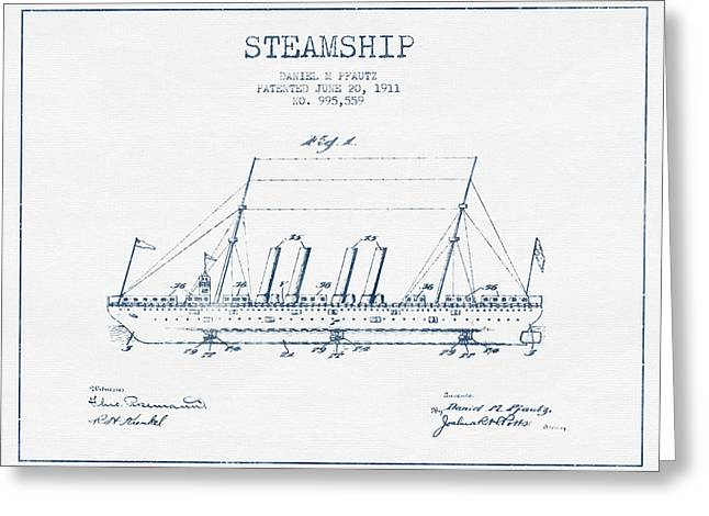 Blue Ink Greeting Cards - Steamship patent from 1911  - Blue Ink Greeting Card by Aged Pixel
