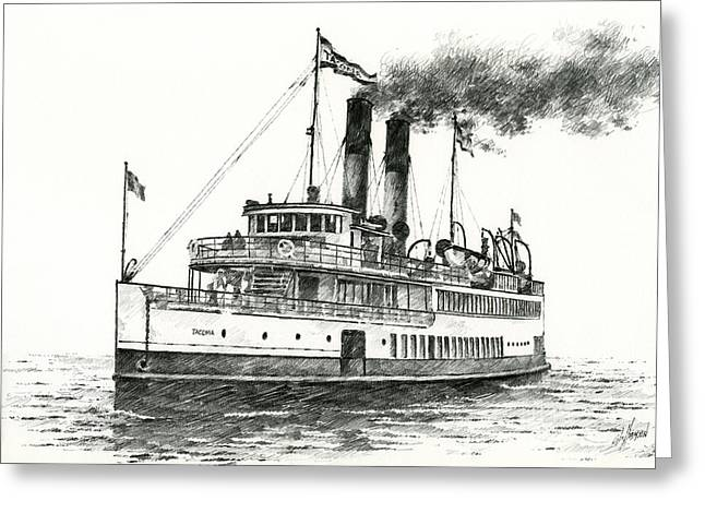 Seattle Framed Prints Greeting Cards - Steamship TACOMA Greeting Card by James Williamson