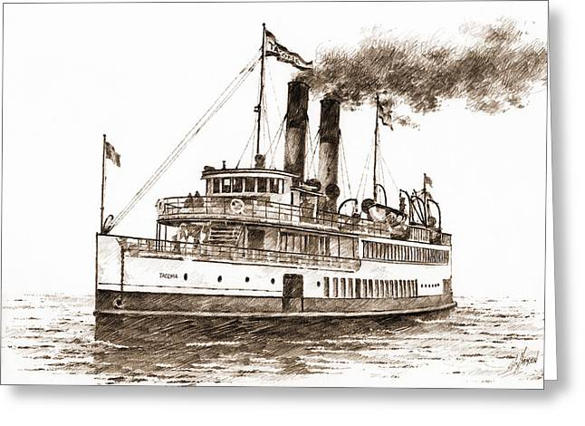 Seattle Framed Prints Greeting Cards - Steamship TACOMA Sepia Greeting Card by James Williamson