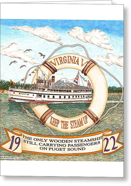 Restoration Drawings Greeting Cards - 1922 Steamship Virginia V Greeting Card by Jack Pumphrey