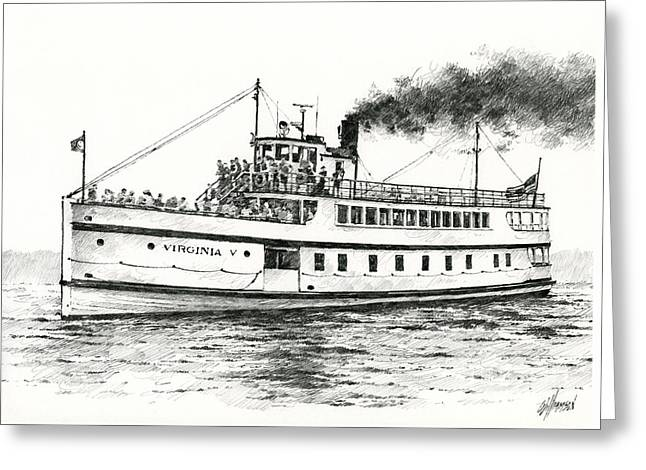 Puget Sound Drawings Greeting Cards - Steamship VIRGINIA V Greeting Card by James Williamson