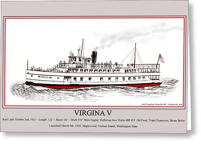 Linked Mixed Media Greeting Cards - Steamship Virginia V Launch Poster Greeting Card by Jack Pumphrey