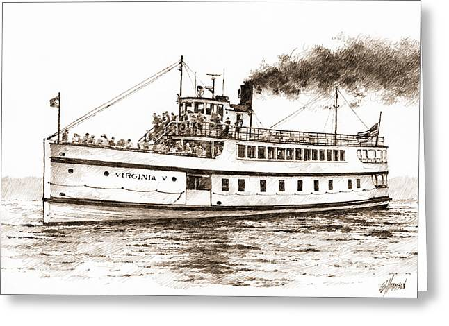 Seattle Framed Prints Greeting Cards - Steamship VIRGINIA V Sepia Greeting Card by James Williamson