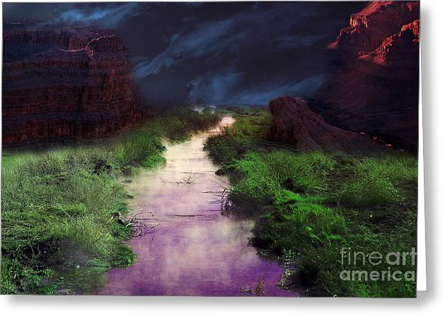 Gunter Nezhoda Greeting Cards - Steamy Creek Greeting Card by Gunter Nezhoda