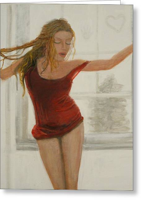 Sweating Paintings Greeting Cards - Sultry  Greeting Card by Larry Lamb