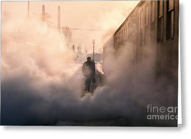 Evening Lights Greeting Cards - Steamy Station Greeting Card by Rod McLean