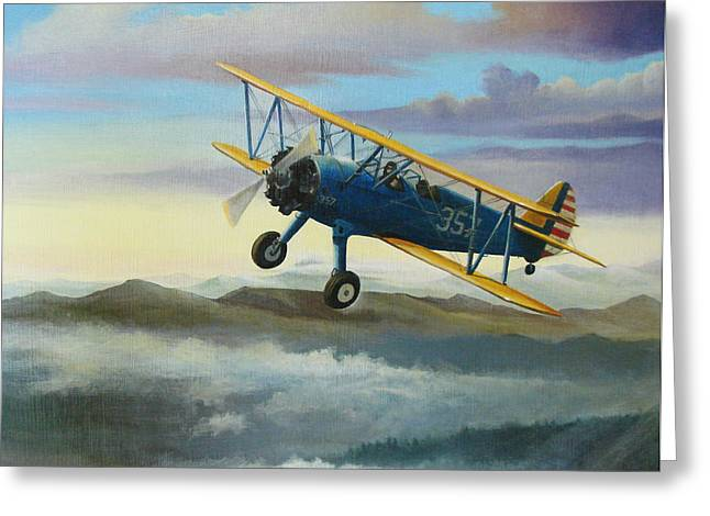 Ride Greeting Cards - Stearman Biplane Greeting Card by Stuart Swartz