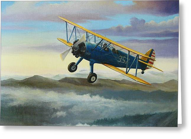 Trainer Greeting Cards - Stearman Biplane Greeting Card by Stuart Swartz