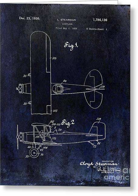 Stearman Greeting Cards - 1929 Stearman Patent Drawing Blue Greeting Card by Jon Neidert