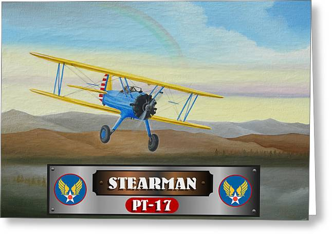 Stearman Greeting Cards - Stearman PT-17 Greeting Card by Stuart Swartz