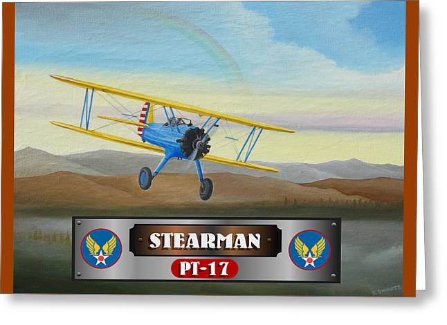 Plane Radial Engine Greeting Cards - Stearman PT-17 Greeting Card by Stuart Swartz