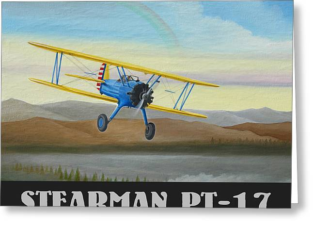 Aircraft Radial Engine Greeting Cards - Stearman PT-17 Training Flight Greeting Card by Stuart Swartz