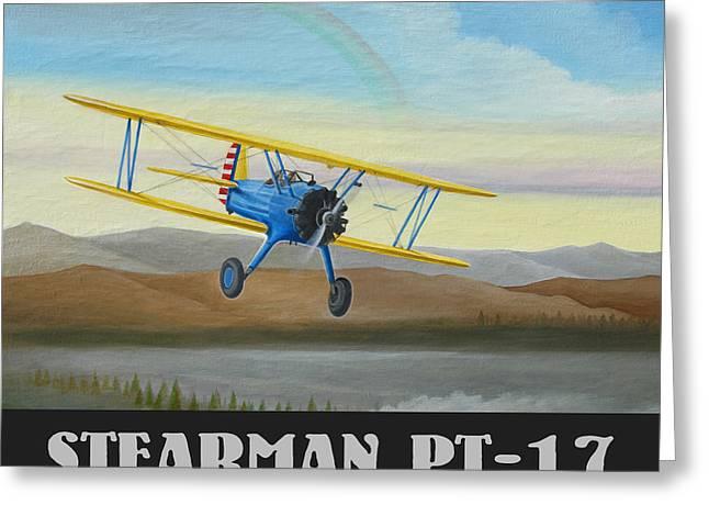 Airplane Radial Engine Greeting Cards - Stearman PT-17 Training Flight Greeting Card by Stuart Swartz