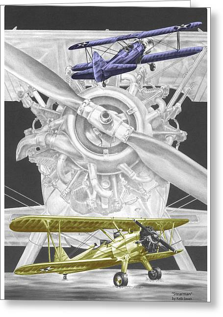 Waco Greeting Cards - Stearman - Vintage Biplane Aviation Art with color Greeting Card by Kelli Swan