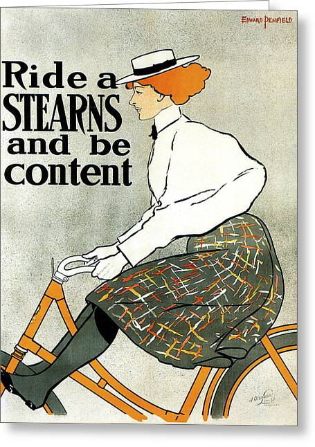 Stearns Greeting Cards - Stearns Bicycle 1896 Greeting Card by Edward Penfield