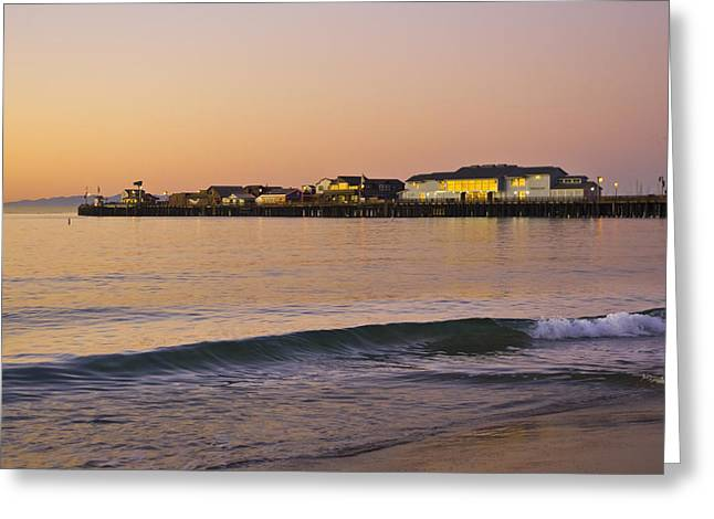Priya Ghose Greeting Cards - Stearns Wharf At Dawn Greeting Card by Priya Ghose