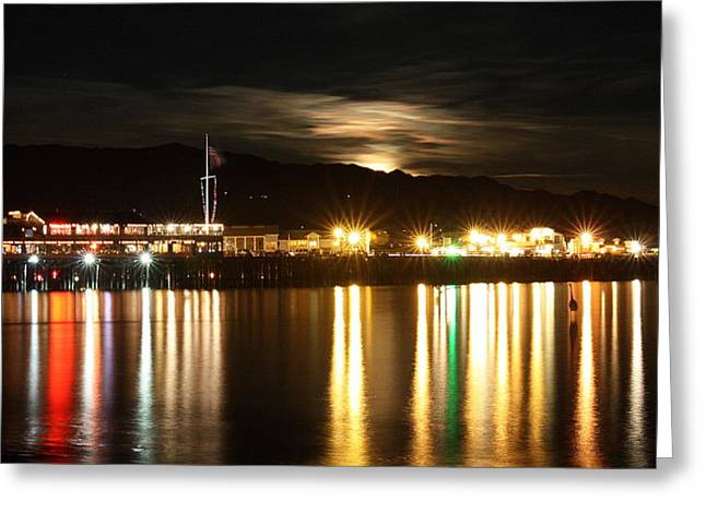 Stearns Wharf Greeting Cards - Stearns Wharf Moonrise Greeting Card by Bill Keiran