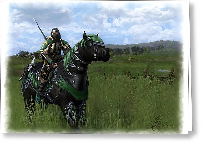 Lord Mixed Media Greeting Cards - Steed of the Citadel Greeting Card by Michael Greenaway