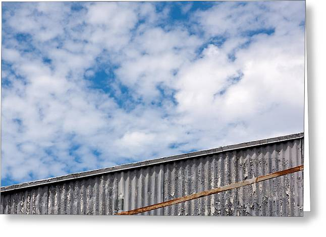 Galvanize Photographs Greeting Cards - Steel and Sky Greeting Card by Peter Tellone