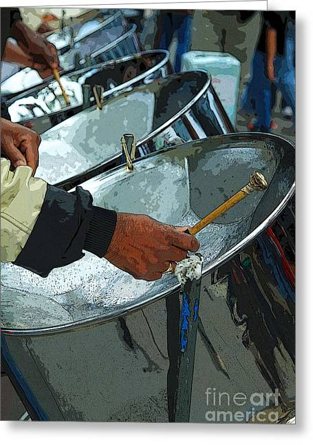 Pannier Greeting Cards - Steel Band Street Musicians Greeting Card by Jeanette French