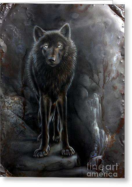 Wolf Song Studio Greeting Cards - Steel Black Wolf Greeting Card by Sandi Baker