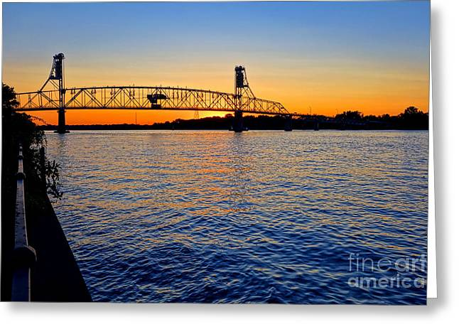 Unset Greeting Cards - Steel Bridge Silk Water Greeting Card by Olivier Le Queinec