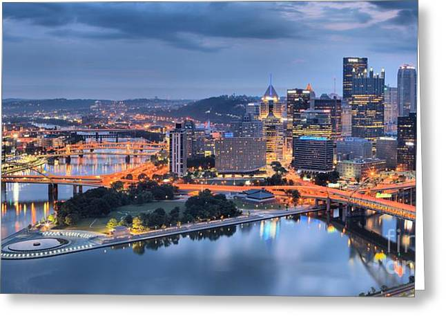 City Of Champions Greeting Cards - Steel City Glow Greeting Card by Adam Jewell