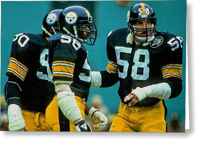 Jack Lambert Greeting Cards - Steel Curtain Greeting Card by Jerry Coli