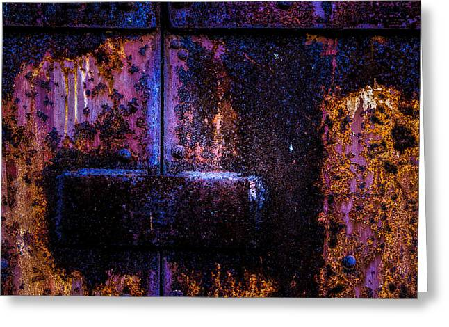 Steel Door Number Three Greeting Card by Bob Orsillo