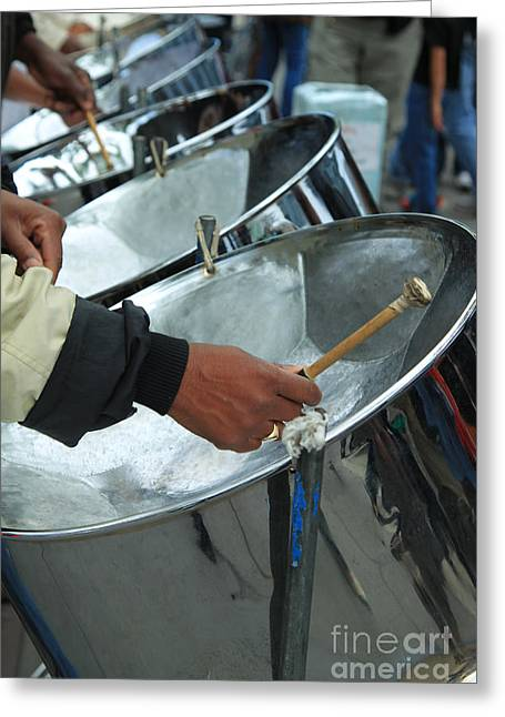 Pannier Greeting Cards - Steel Drum Corps Greeting Card by Jeanette French