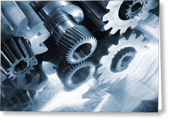 Stainless Steel Greeting Cards - Steel Gears Machinery Greeting Card by Christian Lagereek