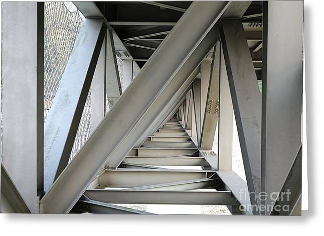 Netting Greeting Cards - Steel Girder Bridge Seen from Below Greeting Card by Yali Shi