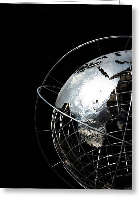Steel Sculpture Greeting Cards - Steel Globe at Columbus Circle - New York Greeting Card by Marianna Mills