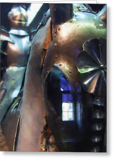 Wall Art Sculptures Greeting Cards - Steel Knight Greeting Card by Ayse Deniz