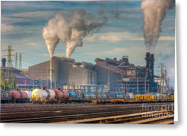 Enterprise Greeting Cards - Steel Mill and Freight Yard I Greeting Card by Clarence Holmes