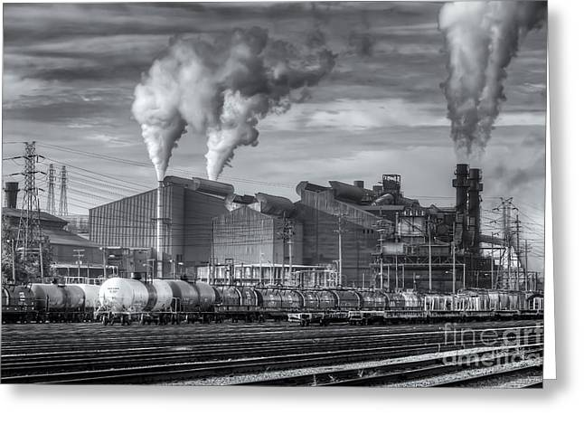 Enterprise Photographs Greeting Cards - Steel Mill and Freight Yard II Greeting Card by Clarence Holmes